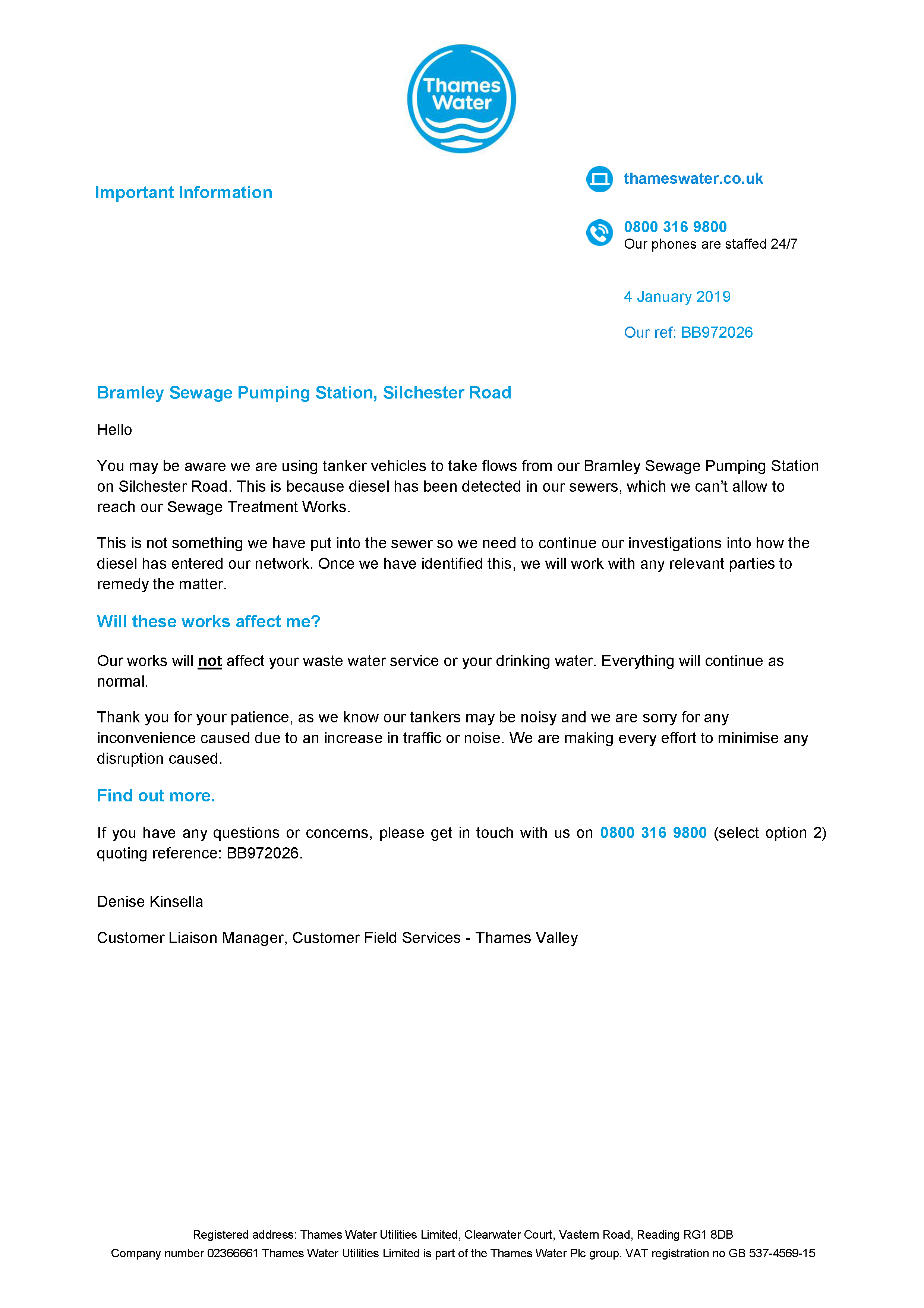 Letter from Thames Water - 04JAN2019
